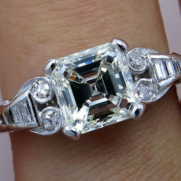 Art Deco 1.78ct Antique Vintage Asscher, Square Emerald  Cut Diamond Engagement PLATINUM and Gold Ring, Circa1920