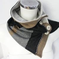 Male gray scarf, Button infinity scarf, gray scarf Beige, Beige men scarves, men's scarves Hood, unisex gray infinity, Men Tube scarf