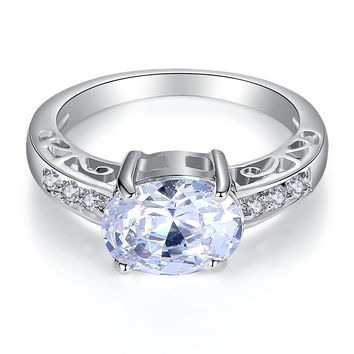 Stainless Steel Oval Cubic Zirconia Engagement Ring