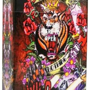 Auto Open Cigarette Case for 100's Wild Tattoo All or Nothing Tiger Hard Non Crush Plastic