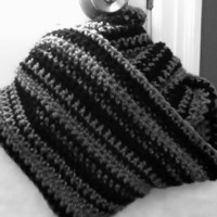 Black and Grey Infinity Scarf or Shawl