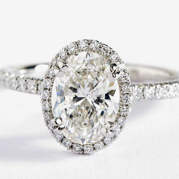 The Heiress 4CT Oval Cut Halo Russian Lab Diamond Engagement Ring
