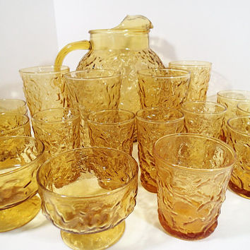 Anchor Hocking Milano Lido Honey Gold Amber Vintage glassware Pitcher and glasses, sherbets, juice, tumblers. Set of 17