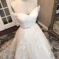 Unique Lace Floral champagne and ivory wedding dress, Ball Gown, puffy Wedding dress, off the shoulder, sweet heart neckline, roses, floral