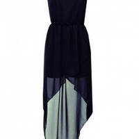 LOVE Dark Navy Strapless Asymmetrical Maxi - Love