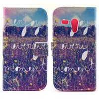 Spotted Yellow Flowers on Grassland Pattern Card Slot Magnetic  Flip Stand TPU+ PU Leather Case for Motorola XT1032 XT1031 Moto G