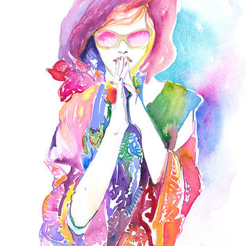 Print of Watercolour Painting, Fashion Illustration by Cate Parr. Titled: Hawaiian Ink