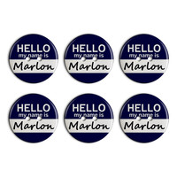 Marlon Hello My Name Is Plastic Resin Button Set of 6