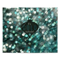 "Robin Dickinson ""It's Cold Outside"" Teal Fleece Throw Blanket"