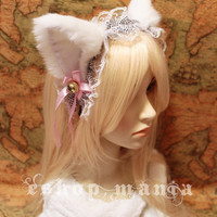 White CAT ears LOLITA maid lace HEADBAND kitty ears w pink ribbons & bells long fur set Costume Cosplay Party
