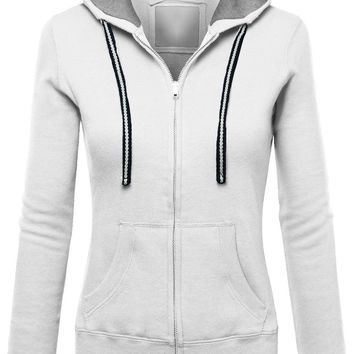 Zipper Pure Color Pockets Drawstring Slim Hoodie