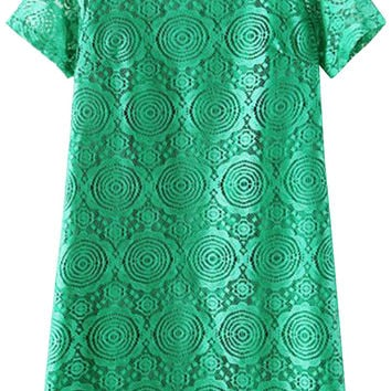 Short Sleeve Crochet Lace Mini Shift Dress
