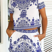 Porcelain Print Shorts Co-Ord Set