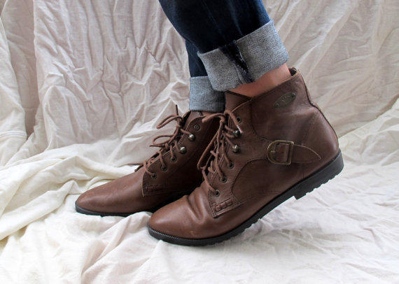 Vintage Brown Lace Up Roper Boots Ankle High Leather