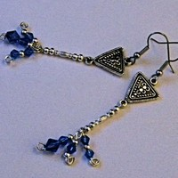 Silver Plated with Sapphire Blue Swarovski Crystal Dangles
