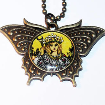 Tarot Card Necklace, The Empress, Occult, Mystical, Witchcraft, Pagan, Goddess Jewelry, Bronze Butterfly Pendant