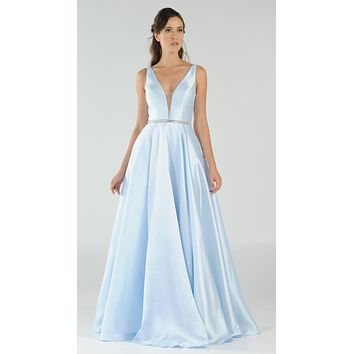 Blue V-Neck A-Line Mikado Prom Gown with Embellished Waist