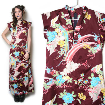 Japanese Art Dress - Japanese Style Kimono Dress - Floral Maxi - Moo Moo - 1990s 90s - Tiki Dress - Japanese Flower - Oriental Dress