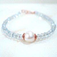 B133: Pale Blue Crystal and White Pearl Bracelet