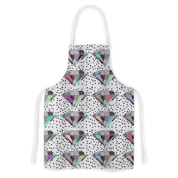 "Vasare Nar ""Polka Dot Diamonds"" White Rainbow Artistic Apron"