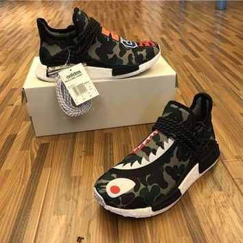 DCCKGV7 Best Online Sale BAPE x Pharrell Williams  x Adidas PW HU Human Race NMD Boost Sport Running Shoes Classic Casual Shoes Sneakers