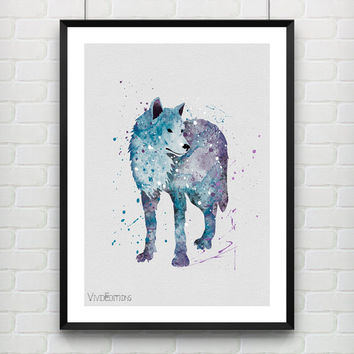 Wolf Watercolor Poster Art Print, Animal Minimalist Art, Kids Bedroom Decor, Home Decor, Office Decor, Not Framed, Buy 2 Get 1 Free! [No 02]