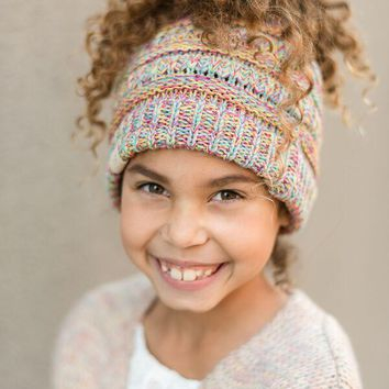Kids Messy Bun Beanie Hat - Multi Color