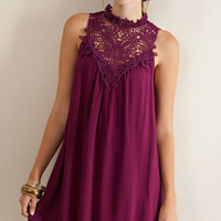 Martinis and Moonlight Lace Sleeveless Dress - Wine