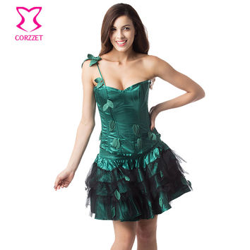 Green Leaf Appliques Burlesque Corset Dress Plus Size Waist Trainer Corset Steel Bone Lolita Dress Sexy Gothic Outfits Costume