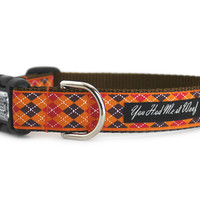 Pumpkin Argyle Dog Collar