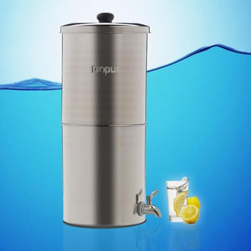 Propur King Brushed Stainless Gravity Fed Fluoride Water Filter Purifier With (4) 9 inch ProOne G2.0 Filters