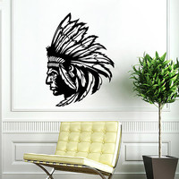 Injun Wall Decal  Indian Redskin Decals Wall Vinyl Sticker Interior Home Decor Family Vinyl Art Wall Decor Bedroom Mural SV5863