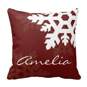 Bright, White Snowflakes against Dark Red Monogram Throw Pillow