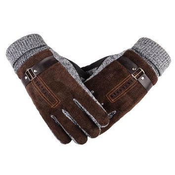 Winter thickening cycling glove Anti-Slip Windproof Thermal Warm glove Bike motorcycle mens leather driving gloves