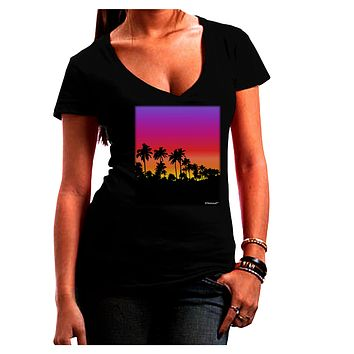 Palm Trees and Sunset Design Juniors V-Neck Dark T-Shirt by TooLoud