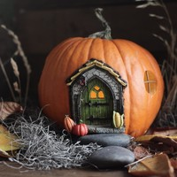 Fall Fairy Door - Miniature Halloween and Autumn Resin Fairy Garden Door