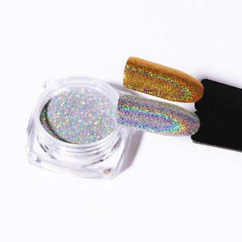 1g Laser Gold Silver Holographic Shiny Powder Magic Mirror Powder Nail Glitters Nail Art Sequins Chrome Pigment Nail Polish Dust