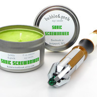 Sonic Screwdriver Scented Soy Candle - 8 oz. tin - Lime, Orange