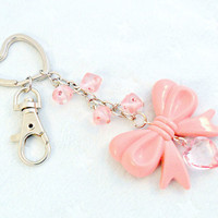Lolita Pink Bow Heart Keychain, Kawaii Key Chain, Fairy Kei, Princess :)