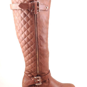 Tan Wedge Boot with Quilt Design and Buckle Details