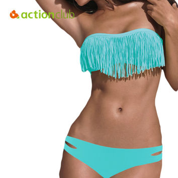 Actionclub Bikini Mujer Tassel Sexy Bikinis Sets 2016 Brand Sexy Women Swimsuit Female Swimwear Bathing Suit SA179
