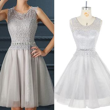 Vestido de noche Cocktail Dresses Short Cap Sleeve Lace Beaded Sliver Formal Party Dress