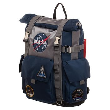 MPBP NASA Roll Top Backpack Blue and Grey Backpack