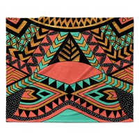 "Pom Graphic Design ""PeruNative"" Gold Coral Fleece Throw Blanket"