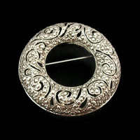 Vintage Faux Marcasite Silver Wreath Brooch - Silver Tone Filigree Circle Pin - Elegant Christmas Brooch Hostess Pin
