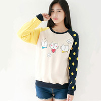 Autumn Sweet Cats Color-Blocking Sleeves Nylon Fleece Jumper Sweater SP141418