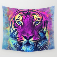 tiger purple spirit #tiger Wall Tapestry by jbjart