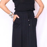 Strapless Black Maxi Sexy Soft Knit Belted Waist by POOF! Cruise Resort Beach!