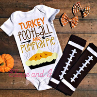 thanksgiving outfit, turkey day baby bodysuit, thanksgiving toddler clothes, fall baby shower gift, football bodysuit, baby boy, baby girl