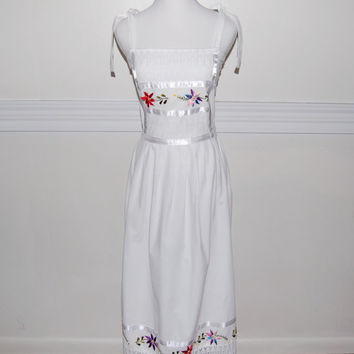 Vintage 1970s Mexican Embroidered Maxi Sundress by LadyLuxVintage